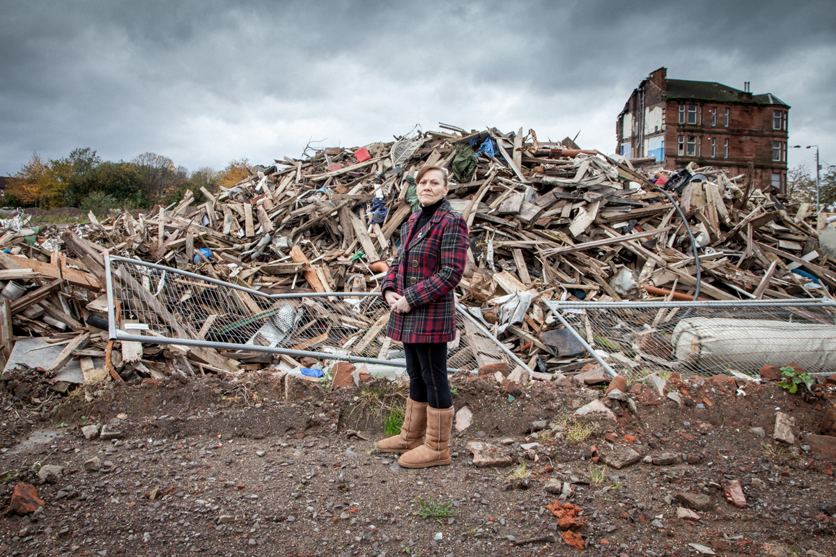 Margaret Jaconelli, lifelong Dalmarnock residents stands outside