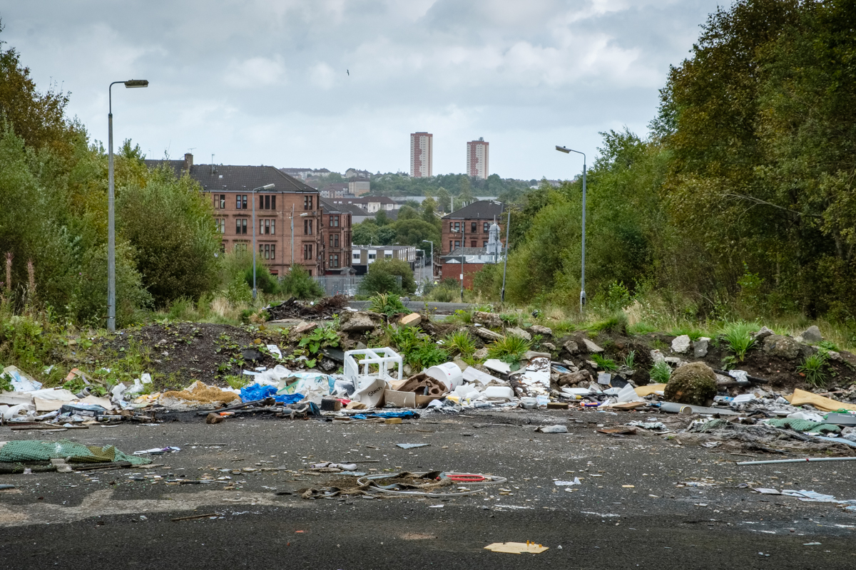 Abandoned streets and Fly tipping in Possilpark in the North of Glasgow